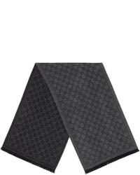 Sciarpa lavorata a maglia grigio scuro di Gucci