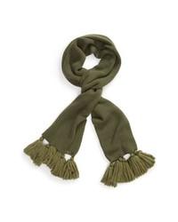 Sciarpa lavorata a maglia verde oliva