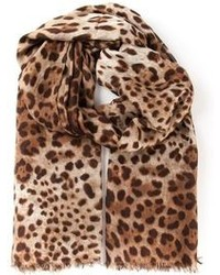 Sciarpa leopardata marrone di Dolce & Gabbana