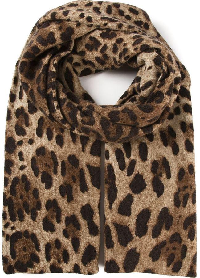 nuovo prodotto 84b87 d4df2 Sciarpa leopardata marrone di Dolce & Gabbana
