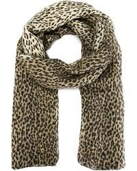 Sciarpa leopardata marrone di Saint Laurent