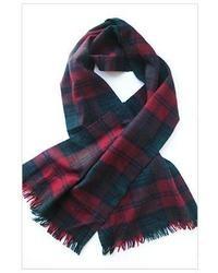 Sciarpa scozzese bianca e rossa e blu scuro