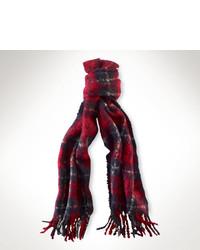 Sciarpa scozzese rossa e blu scuro