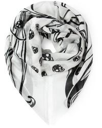 Sciarpa stampata bianca e nera