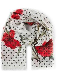 Sciarpa stampata bianca e rossa