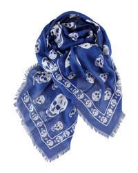 Sciarpa stampata blu scuro e bianca