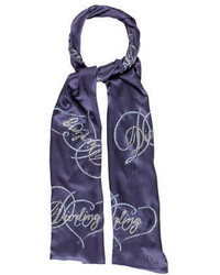 Sciarpa stampata blu scuro