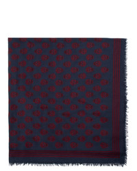 Sciarpa stampata blu scuro di Alexander McQueen