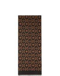 Sciarpa stampata marrone scuro di Gucci