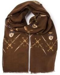 ... Sciarpa stampata marrone di Dolce   Gabbana fa87ee34e4a