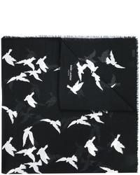 Sciarpa stampata nera di Saint Laurent