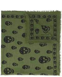 Sciarpa stampata verde oliva di Alexander McQueen