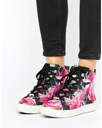 Sneakers alte a fiori melanzana scuro di Ted Baker