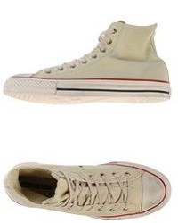 Sneakers alte di tela beige