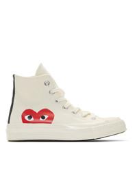 Sneakers alte di tela bianche di Comme Des Garcons Play