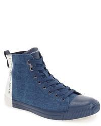 Sneakers alte di tela blu