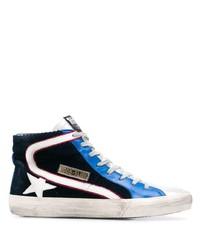 Sneakers alte di tela blu scuro e bianche