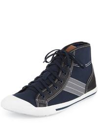 Sneakers alte di tela blu scuro