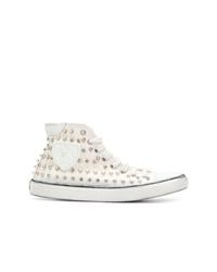 Sneakers alte di tela con borchie bianche di Saint Laurent