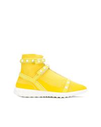 Sneakers alte di tela gialle di Valentino