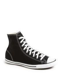 Sneakers alte di tela nere e bianche