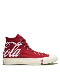 Sneakers alte di tela rosse e bianche