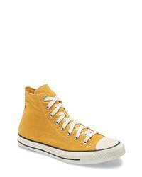 Sneakers alte di tela senapi