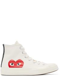 Sneakers alte di tela stampate bianche