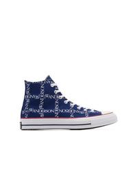 Sneakers alte di tela stampate blu scuro