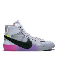 Sneakers alte di tela stampate grigie