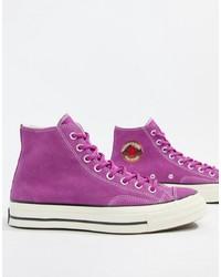 Sneakers alte di tela viola melanzana