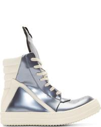 Sneakers alte in pelle argento