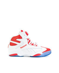Sneakers alte in pelle bianche e rosse