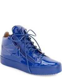 Sneakers alte in pelle blu
