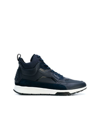 Sneakers alte in pelle blu scuro di Calvin Klein