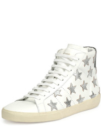 Sneakers alte in pelle con stelle bianche