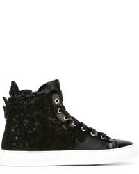 Sneakers alte in pelle decorate nere di Philipp Plein