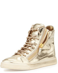 Sneakers alte in pelle dorate