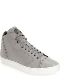 Sneakers alte in pelle grigie