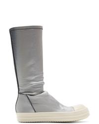 Sneakers alte in pelle grigie di Rick Owens