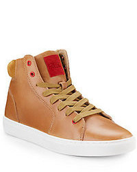 Sneakers alte in pelle marrone chiaro