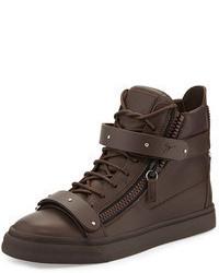 Sneakers alte in pelle marrone scuro