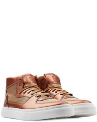 Sneakers alte in pelle marroni