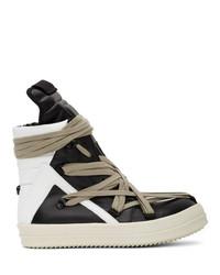 Sneakers alte in pelle nere e bianche di Rick Owens