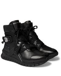 Sneakers alte in pelle nere di Balmain