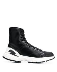 Sneakers alte in pelle nere di Neil Barrett