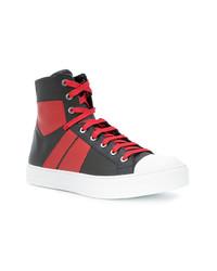 Sneakers alte in pelle rosse e nere