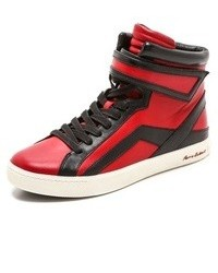 Sneakers alte in pelle rosse
