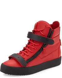 Sneakers alte in pelle rosse