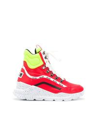 Sneakers alte in pelle rosse di MSGM